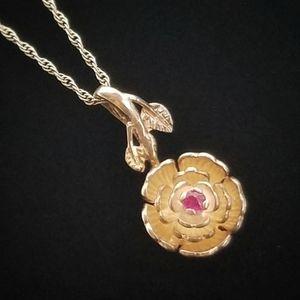 Vintage Rose In Bloom Sterling Silver Necklace
